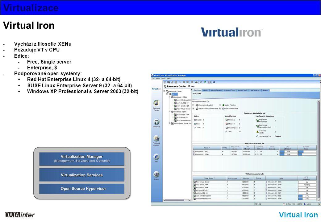 Virtualizace Virtual Iron -Vychází z filosofie XENu -Požaduje VT v CPU -Edice: -Free, Single server -Enterprise, $ -Podporované oper. systémy:  Red H