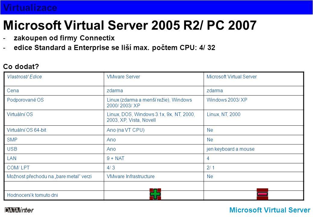Virtualizace Microsoft Virtual Server Microsoft Virtual Server 2005 R2/ PC 2007 -zakoupen od firmy Connectix -edice Standard a Enterprise se liší max.