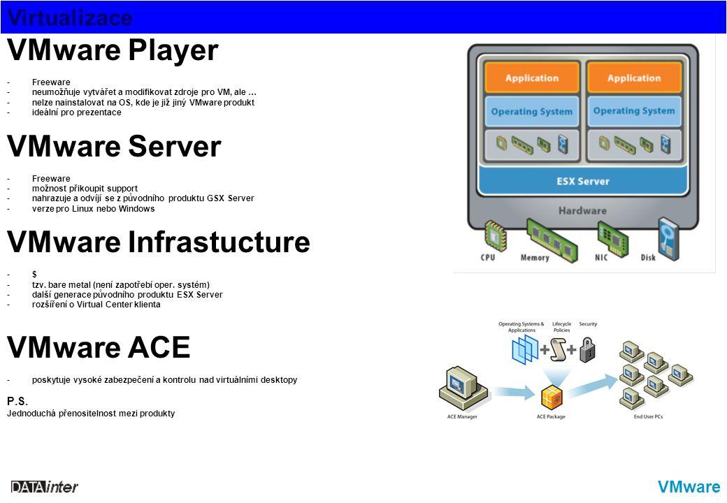 Virtualizace VMware VMware Player -Freeware -neumožňuje vytvářet a modifikovat zdroje pro VM, ale … -nelze nainstalovat na OS, kde je již jiný VMware