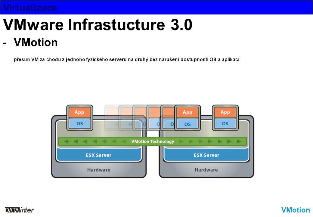 Virtualizace VMotion VMware Infrastucture 3.0 -VMotion přesun VM za chodu z jednoho fyzického serveru na druhý bez narušení dostupnosti OS a aplikací