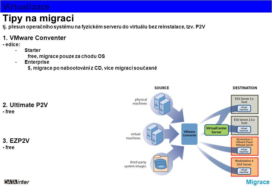 Virtualizace Migrace Tipy na migraci tj. přesun operačního systému na fyzickém serveru do virtuálu bez reinstalace, tzv. P2V 1. VMware Conventer - edi