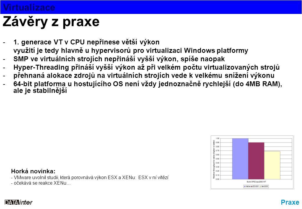 Virtualizace Praxe Závěry z praxe -1. generace VT v CPU nepřinese větší výkon využití je tedy hlavně u hypervisorů pro virtualizaci Windows platformy