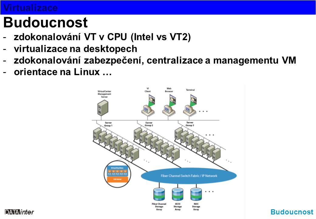 Virtualizace Budoucnost -zdokonalování VT v CPU (Intel vs VT2) -virtualizace na desktopech -zdokonalování zabezpečení, centralizace a managementu VM -