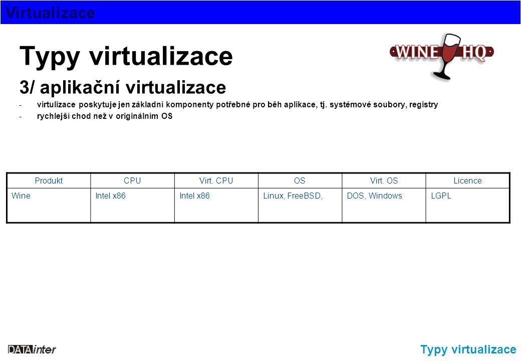 Virtualizace Typy virtualizace 3/ aplikační virtualizace -virtulizace poskytuje jen základní komponenty potřebné pro běh aplikace, tj. systémové soubo