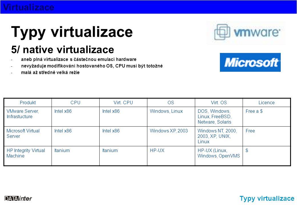 Virtualizace Typy virtualizace 5/ native virtualizace -aneb plná virtualizace s částečnou emulací hardware -nevyžaduje modifikování hostovaného OS, CP