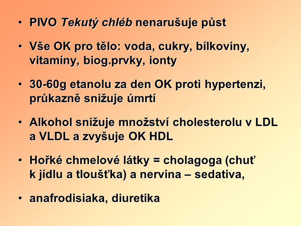 •PIVO Tekutý chléb nenarušuje půst •Vše OK pro tělo: voda, cukry, bílkoviny, vitamíny, biog.prvky, ionty •30-60g etanolu za den OK proti hypertenzi, p