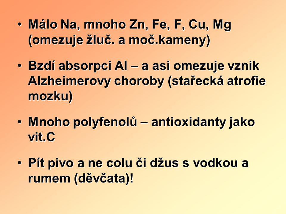 •PIVO v ČR 160 l/osobu a rok •Nejvíce na světě (tam 24 l/os/rok) •Svět (mil.