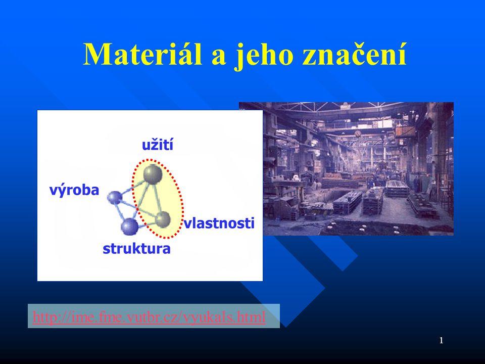 2 číselné hodnoty jež charakterizují danou vlastnost materiálu, ale závisí také na tvaru zkušebního tělesa a podmínkách namáhání Pružnost + Plasticita + Pevnost + Houževnatost Pružnost + Plasticita + Pevnost + Houževnatost Užitné vlastnosti materiálu využívané konstruktérem = Mechanické vlastnosti materiálů Mechanické charakteristiky Standardy - normy smluvené přístupy a podmínky pro označování, zkoušení a konstrukční aplikaci materiálů