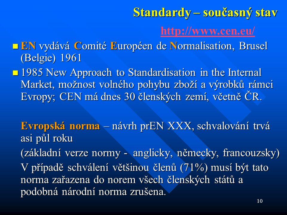 10 Standardy – současný stav  EN vydává Comité Européen de Normalisation, Brusel (Belgie) 1961  1985 New Approach to Standardisation in the Internal