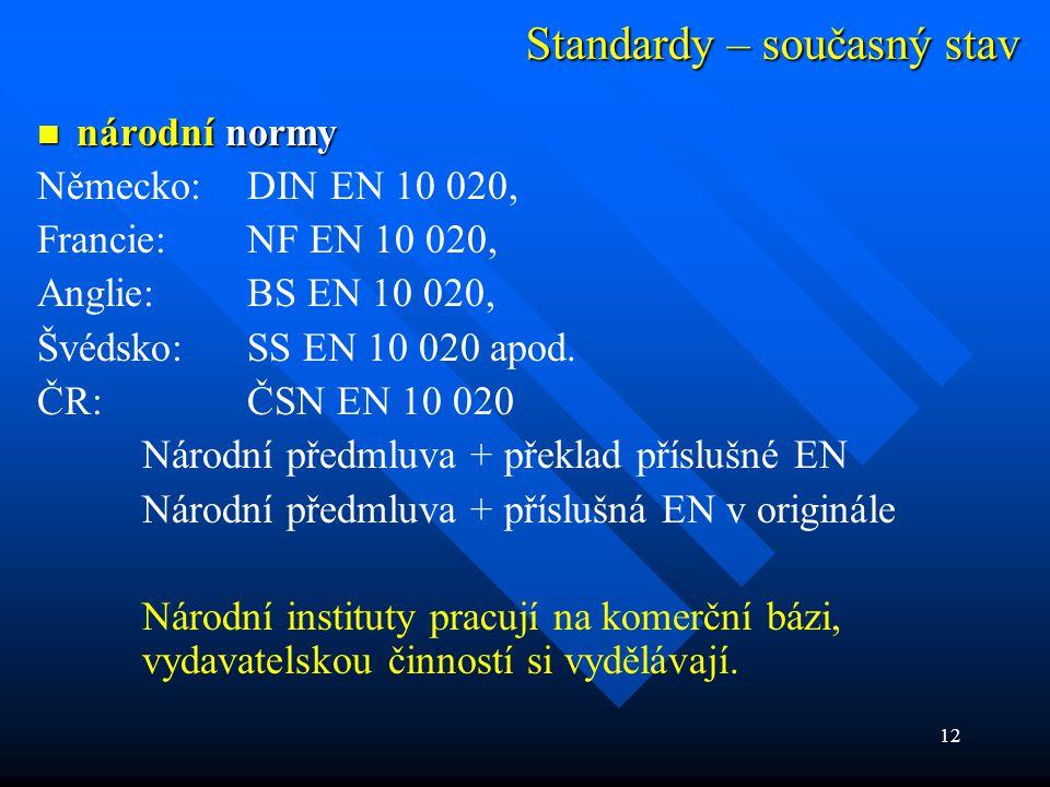 12 Standardy – současný stav  národní normy Německo:DIN EN 10 020, Francie:NF EN 10 020, Anglie:BS EN 10 020, Švédsko:SS EN 10 020 apod. ČR:ČSN EN 10