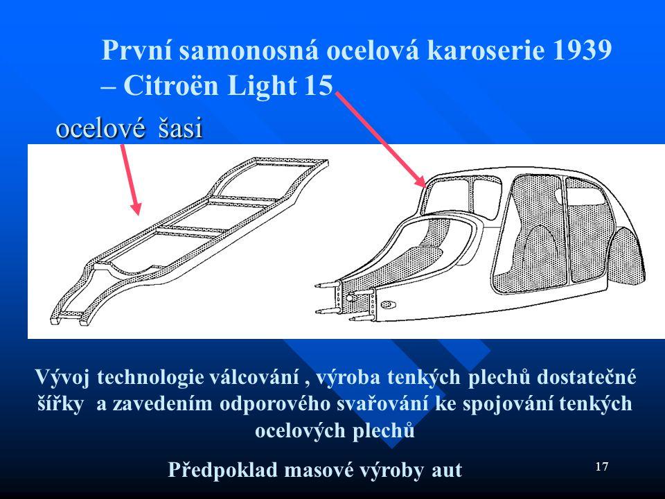 17 ocelové šasi ocelové šasi První samonosná ocelová karoserie 1939 – Citroën Light 15 Vývoj technologie válcování, výroba tenkých plechů dostatečné š