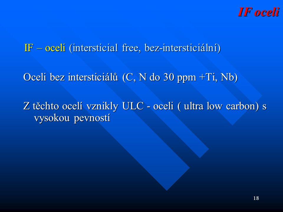 18 IF – oceli (intersticial free, bez-intersticiální) Oceli bez intersticiálů (C, N do 30 ppm +Ti, Nb) Z těchto ocelí vznikly ULC - oceli ( ultra low