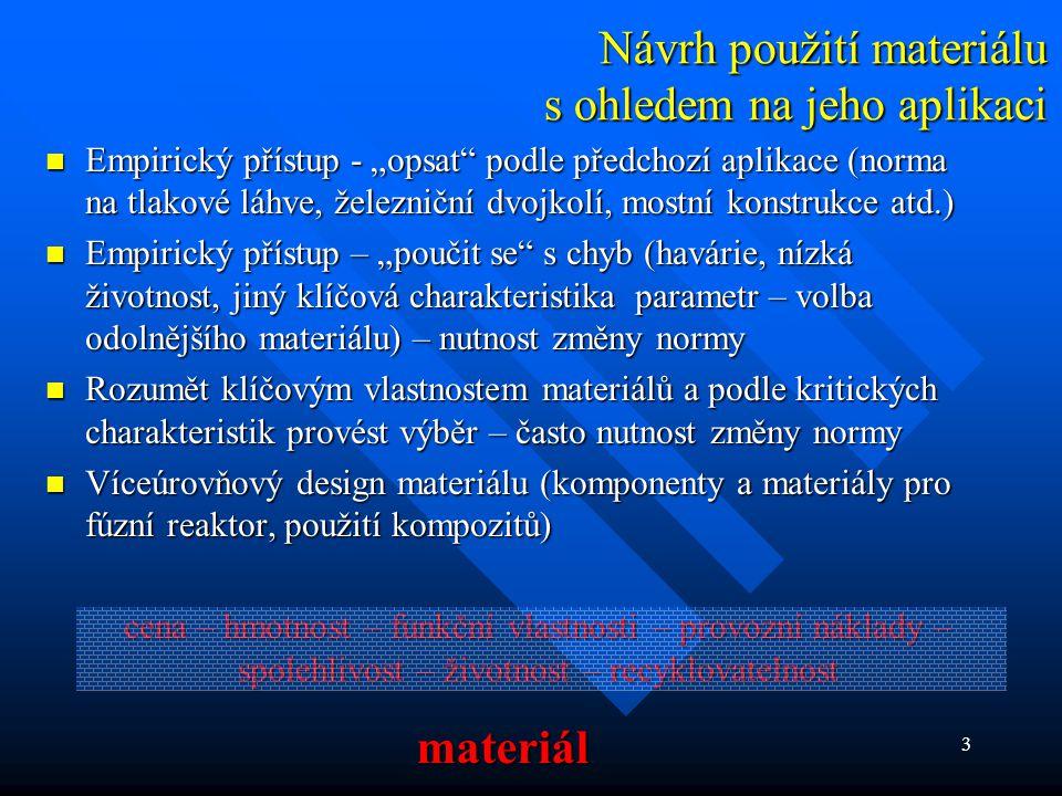 """3 Návrh použití materiálu s ohledem na jeho aplikaci  Empirický přístup - """"opsat"""" podle předchozí aplikace (norma na tlakové láhve, železniční dvojko"""