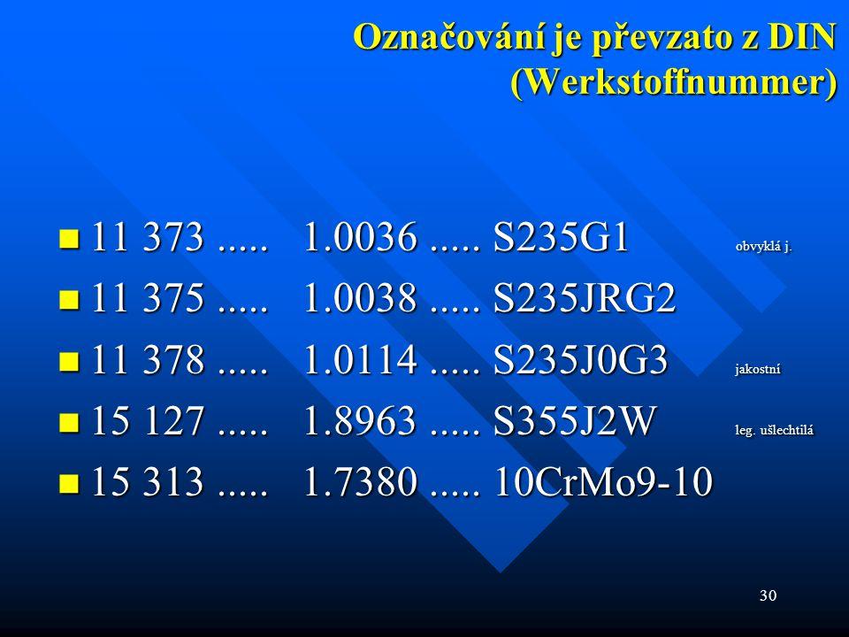 30 Označování je převzato z DIN (Werkstoffnummer)  11 373..... 1.0036..... S235G1 obvyklá j.  11 375..... 1.0038..... S235JRG2  11 378..... 1.0114.