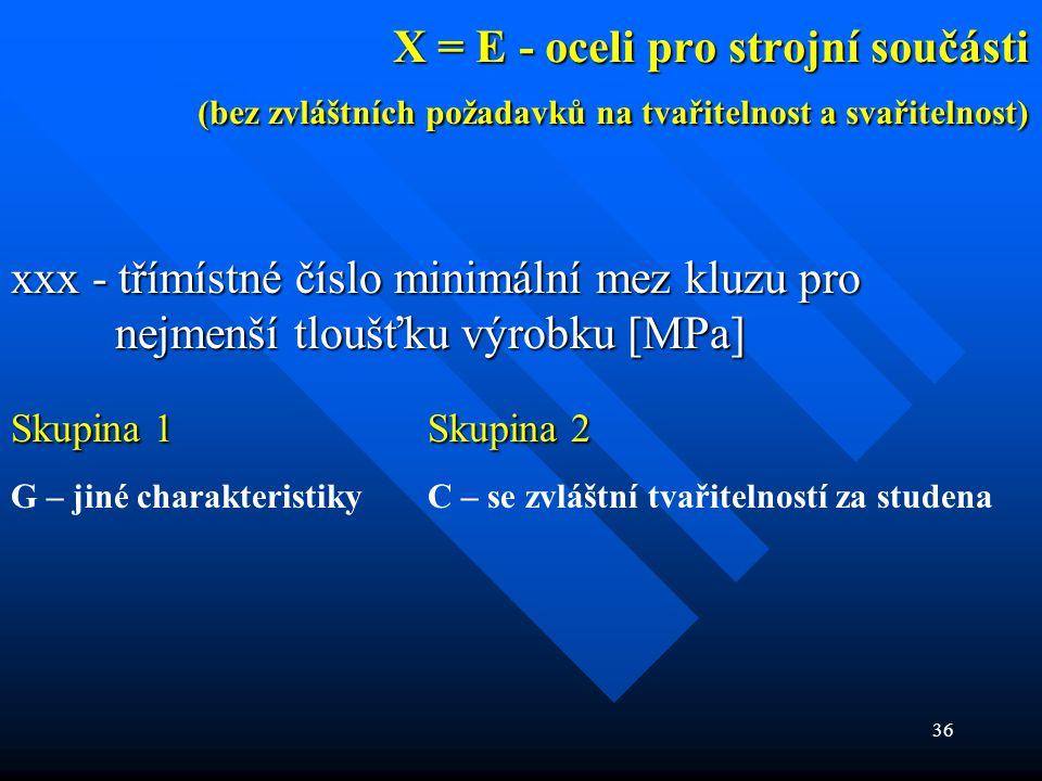 36 X = E - oceli pro strojní součásti (bez zvláštních požadavků na tvařitelnost a svařitelnost) xxx - třímístné číslo minimální mez kluzu pro nejmenší