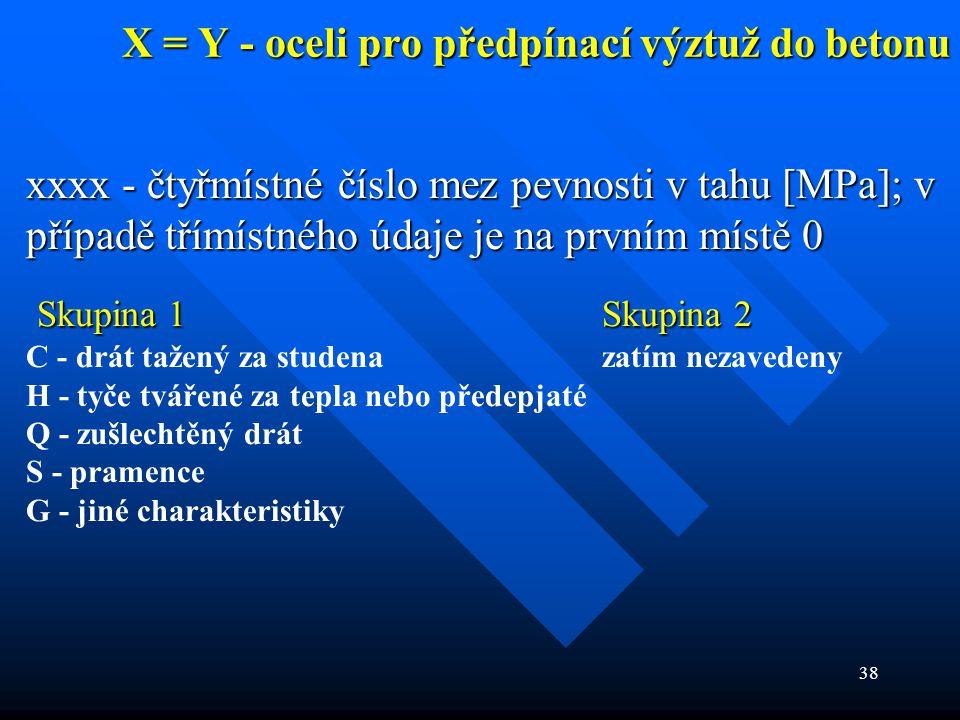 38 X = Y - oceli pro předpínací výztuž do betonu xxxx - čtyřmístné číslo mez pevnosti v tahu [MPa]; v případě třímístného údaje je na prvním místě 0 S