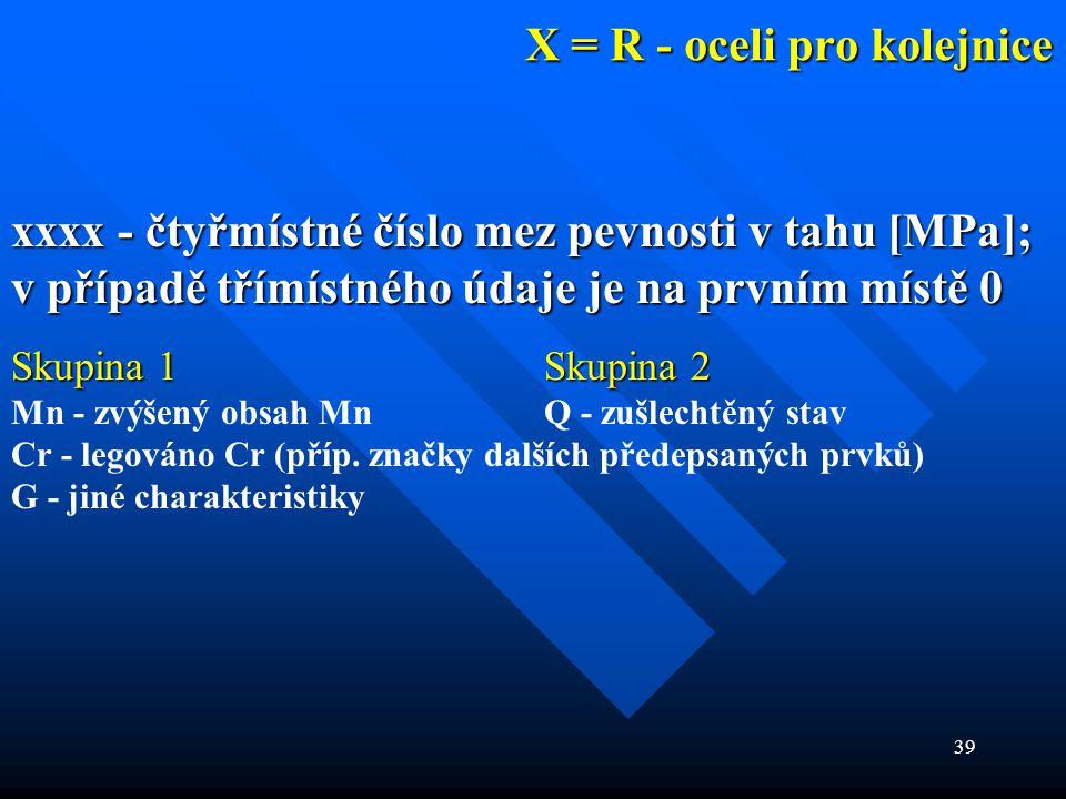 39 X = R - oceli pro kolejnice xxxx - čtyřmístné číslo mez pevnosti v tahu [MPa]; v případě třímístného údaje je na prvním místě 0 Skupina 1 Skupina 2