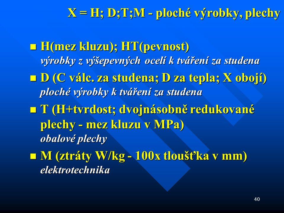 40 X = H; D;T;M - ploché výrobky, plechy  H(mez kluzu); HT(pevnost) výrobky z výšepevných ocelí k tváření za studena  D (C válc. za studena; D za te