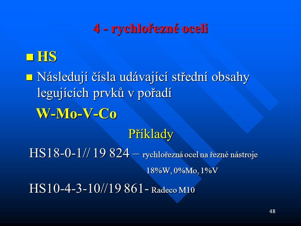 48 4 - rychlořezné oceli  HS  Následují čísla udávající střední obsahy legujících prvků v pořadí W-Mo-V-Co W-Mo-V-CoPříklady HS18-0-1// 19 824 – ryc