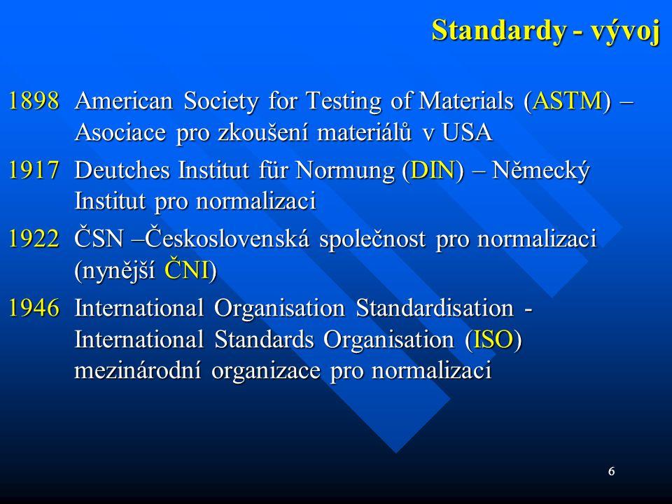 """7 Standardy – současný stav  mezinárodní - ISO zkratka ISO """"se hodí - řecké slovo isos, česky - rovnající se, platící pro všechny zkratka ISO """"se hodí - řecké slovo isos, česky - rovnající se, platící pro všechny sídlo má v Ženevě (Švýcarsko) sídlo má v Ženevě (Švýcarsko) má 148 členů, včetně ČR má 148 členů, včetně ČR"""