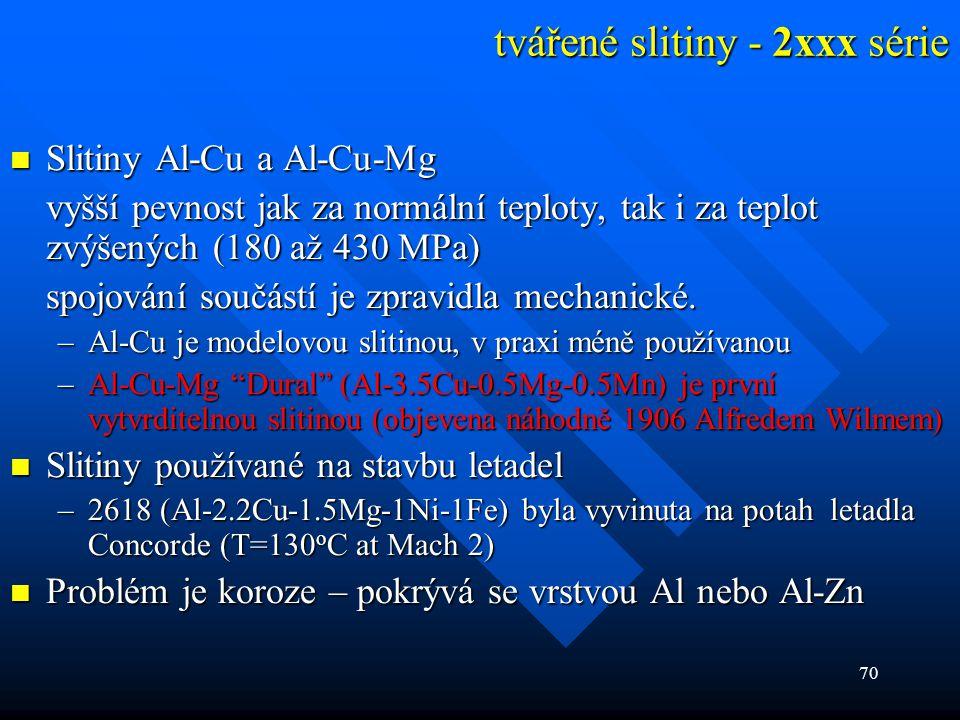 70 tvářené slitiny - 2xxx série  Slitiny Al-Cu a Al-Cu-Mg vyšší pevnost jak za normální teploty, tak i za teplot zvýšených (180 až 430 MPa) spojování