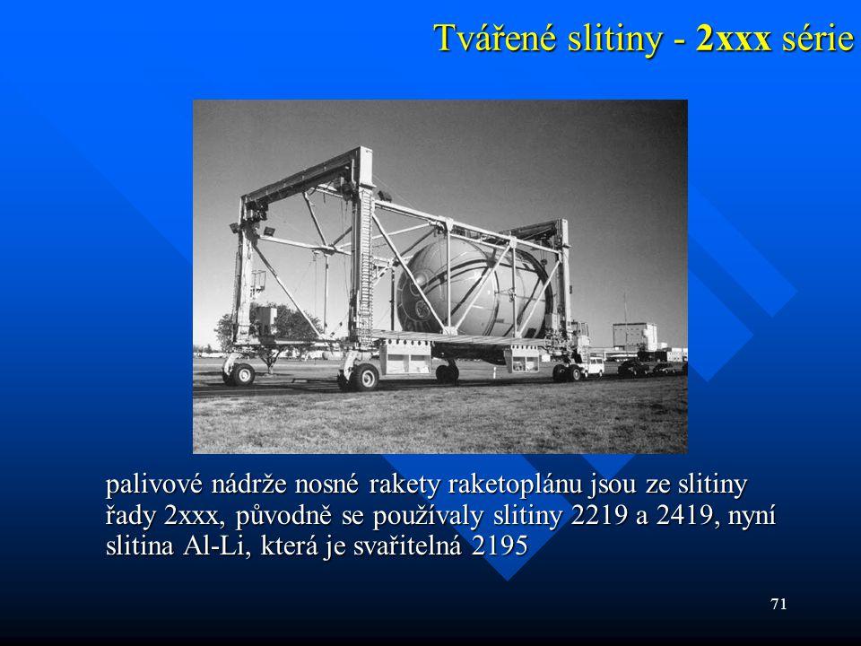 71 Tvářené slitiny - 2xxx série palivové nádrže nosné rakety raketoplánu jsou ze slitiny řady 2xxx, původně se používaly slitiny 2219 a 2419, nyní sli