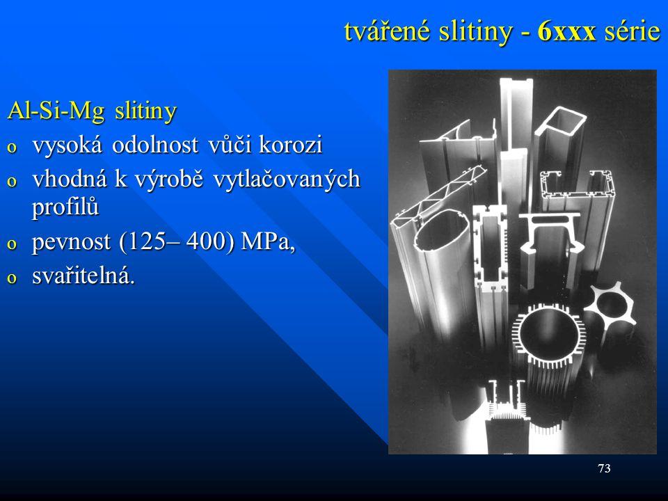 73 tvářené slitiny - 6xxx série Al-Si-Mg slitiny o vysoká odolnost vůči korozi o vhodná k výrobě vytlačovaných profilů o pevnost (125– 400) MPa, o sva