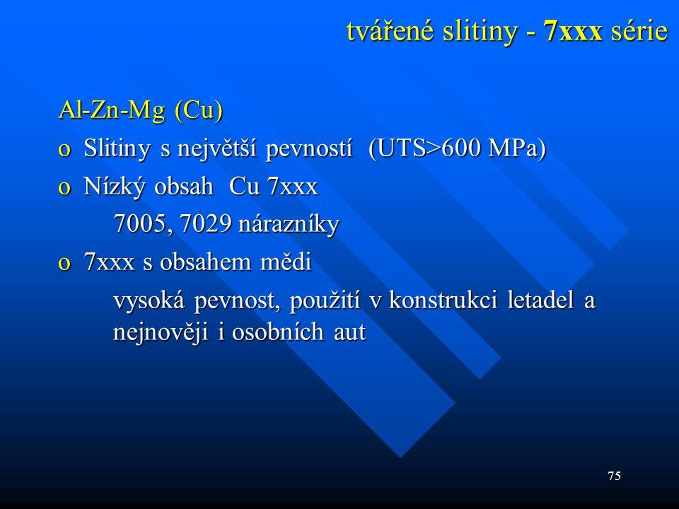 75 tvářené slitiny - 7xxx série Al-Zn-Mg (Cu) oSlitiny s největší pevností (UTS>600 MPa) oNízký obsah Cu 7xxx 7005, 7029 nárazníky o7xxx s obsahem měd