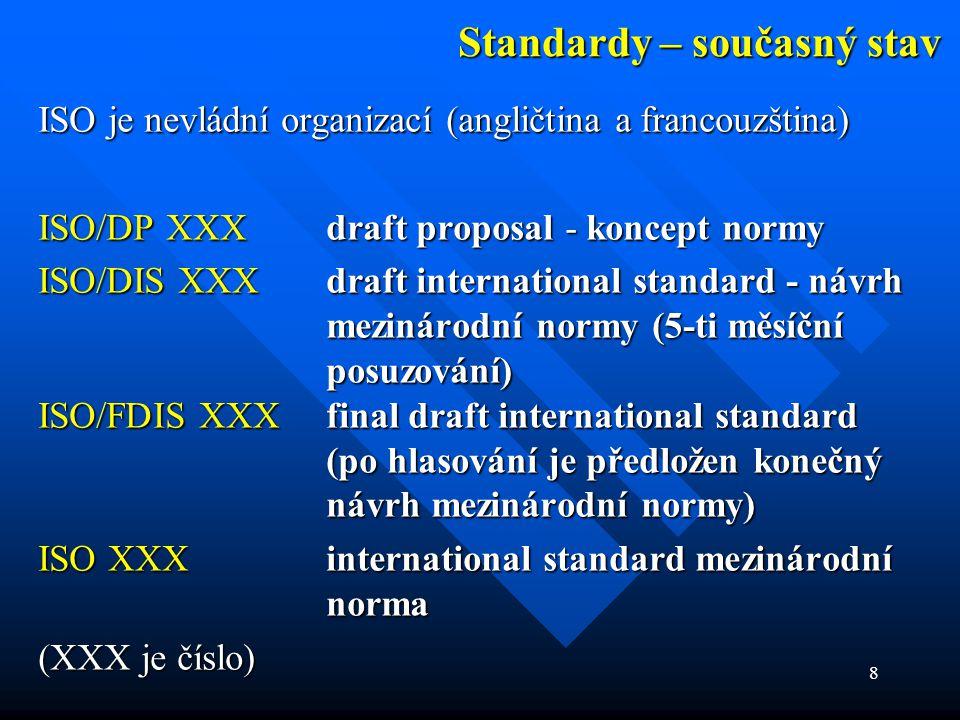 8 Standardy – současný stav ISO je nevládní organizací (angličtina a francouzština) ISO/DP XXX draft proposal - koncept normy ISO/DIS XXX draft intern