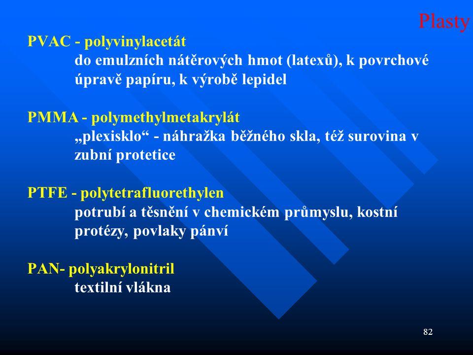 """82 PVAC - polyvinylacetát do emulzních nátěrových hmot (latexů), k povrchové úpravě papíru, k výrobě lepidel PMMA - polymethylmetakrylát """"plexisklo"""" -"""