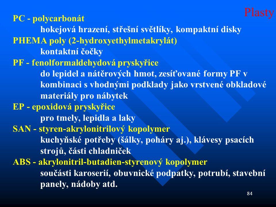 84 PC - polycarbonát hokejová hrazení, střešní světlíky, kompaktní disky PHEMA poly (2-hydroxyethylmetakrylát) kontaktní čočky PF - fenolformaldehydov