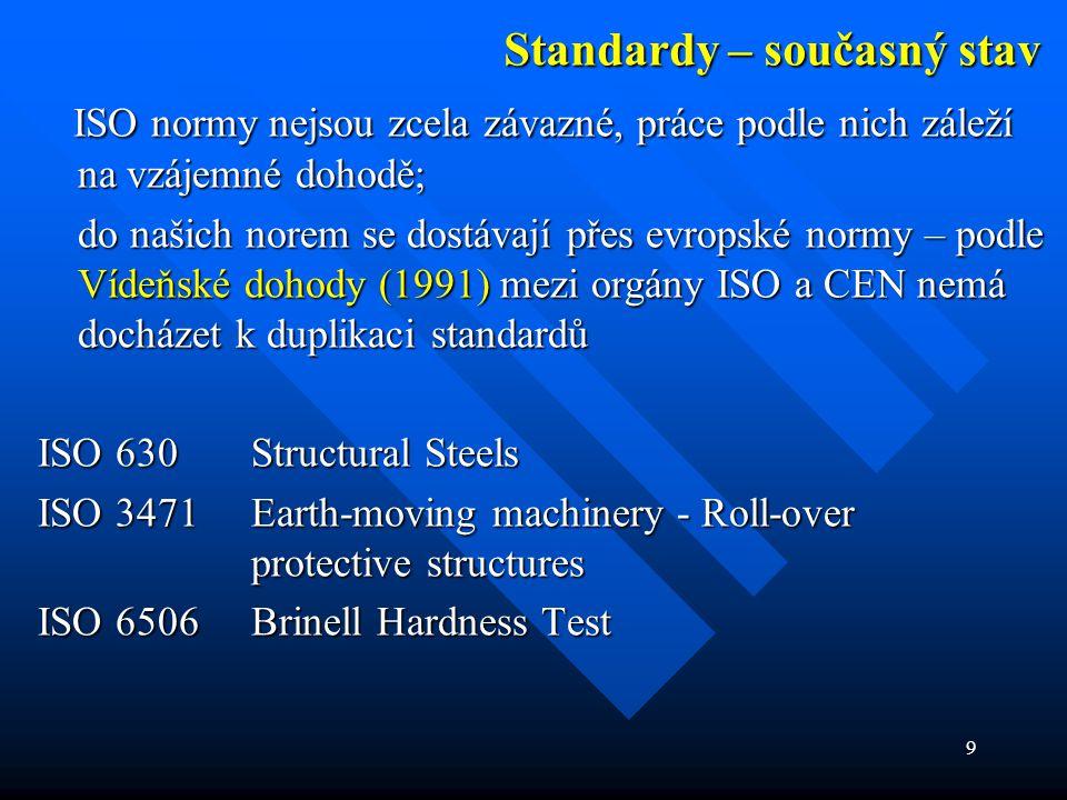 9 Standardy – současný stav ISO normy nejsou zcela závazné, práce podle nich záleží na vzájemné dohodě; ISO normy nejsou zcela závazné, práce podle ni
