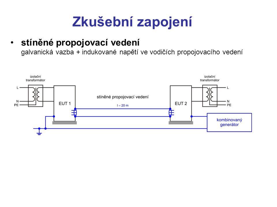 Zkušební úrovně úroveň třída instalace zkušební úrovně (amplituda): 5 impulzů ±, 0°– 360° síťové napájení nesymetrická vedení, LDB symetrická vedeníSDB, DB vodič zem vodič zem vodič zem vodič zem 12345X12345X – 0,5 1 2 0,5 1 2 4 – 0,5 1 2 0,5 1 2 4 –––––––––– 0,5 1 2 4 –––––––––– – 0,5 – Pozn.:LDBdlouhá datová sběrnice (nad 30 m) SDBkrátká datová sběrnice (do 10 m) DBdatová sběrnice Vlastní zkouška odolnosti se provádí pěti kladnými a pěti zápornými impulzy s minutovým odstupem ve všech důležitých provozních stavech zkoušeného zařízení.