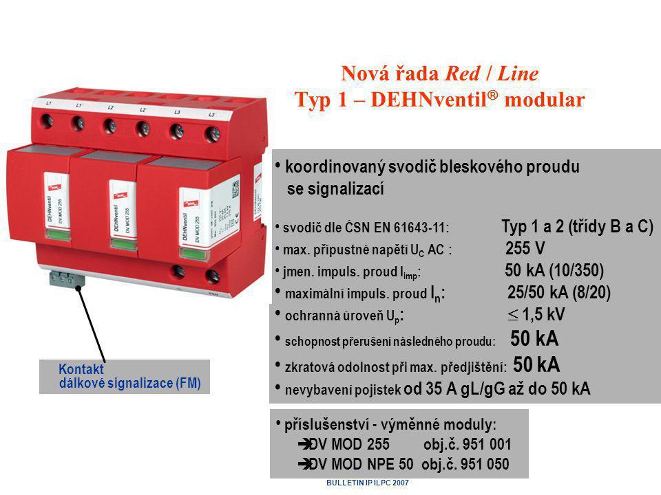 Podniková norma energetiky PNE 33 0000-5 Umístění přepěťového ochranného zařízení SPD typu 1 (třídy požadavků B) v elektrických instalacích odběrných zařízení • Přípojková skříň zkoušena bleskovým proudem 100 kA vlnou 10/350 µs.
