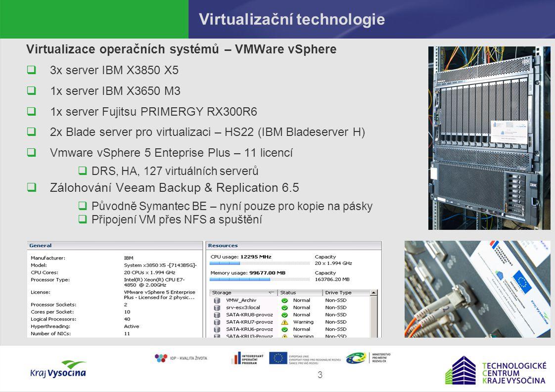 Martin Procházka4 Infrastruktura úložišť Virtualizace úložišť a SAN  4x SAN switch IBM system storage SAN24B-4  Datová uložiště  2x TIER 0 – FusioIO + IBM x3650, EFS software  2x TIER 1,2 – diskové pole DS5100 (98TB), FC, SATA disky  2x FalconStor NS GA710 - active/passive cluster  Unlimited capacity licence  Spravováno 69 LUNů, 16 replik, 21 synchronních mirrorů  Writecache, HotZone, Safecache,