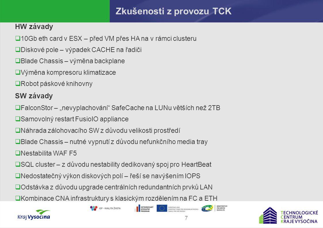 Martin Procházka8 Možné modely spolupráce TCK a TC ORP Způsoby hostování 1.Využití technologie TCK Síťově  Interní služby – extenze LAN  Externí služby – zřízení DMZ zón a přidělení veřejné IP z rozsahu TCK Serverově:  Serverový hosting – dedikované virtuální stroje  VMWare site recovery Storage:  Replika IPStor  iSCSI target/iniciator  FC target/iniciator  Přímé využití garantovaného úložiště (CIFS, SFTP)  NAS storage (NFS, CIFS)  Archivace na pásky 2.Instalace vlastní technologie do prostor TCK