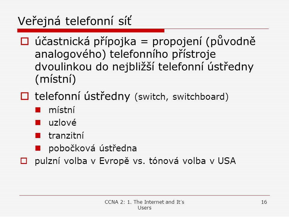 CCNA 2: 1. The Internet and It´s Users 16 Veřejná telefonní síť  účastnická přípojka = propojení (původně analogového) telefonního přístroje dvoulink