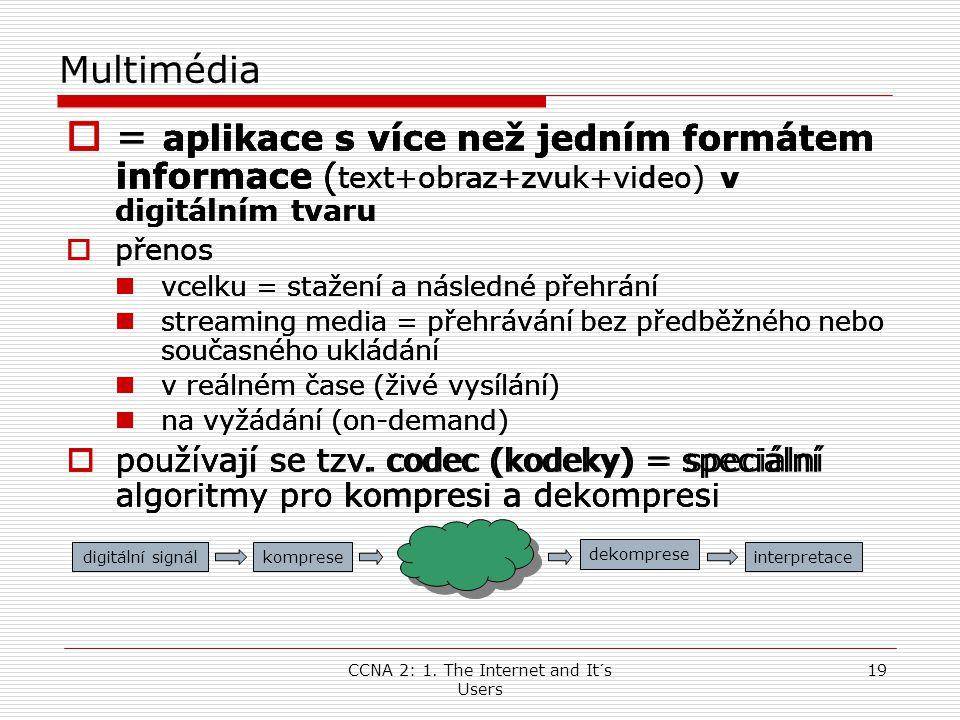CCNA 2: 1. The Internet and It´s Users 19 Multimédia  = aplikace s více než jedním formátem informace ( text+obraz+zvuk+video) v digitálním tvaru  p