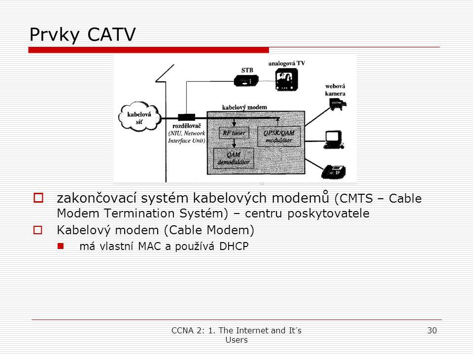 CCNA 2: 1. The Internet and It´s Users 30 Prvky CATV  zakončovací systém kabelových modemů (CMTS – Cable Modem Termination Systém) – centru poskytova
