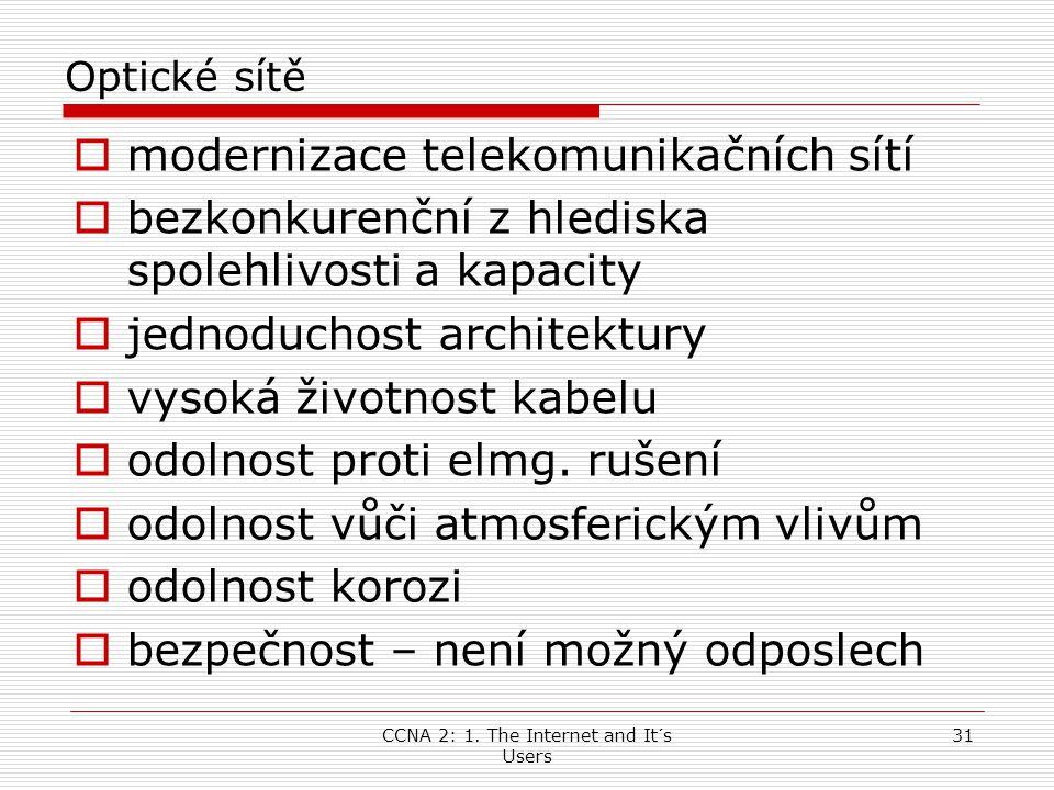 CCNA 2: 1. The Internet and It´s Users 31 Optické sítě  modernizace telekomunikačních sítí  bezkonkurenční z hlediska spolehlivosti a kapacity  jed