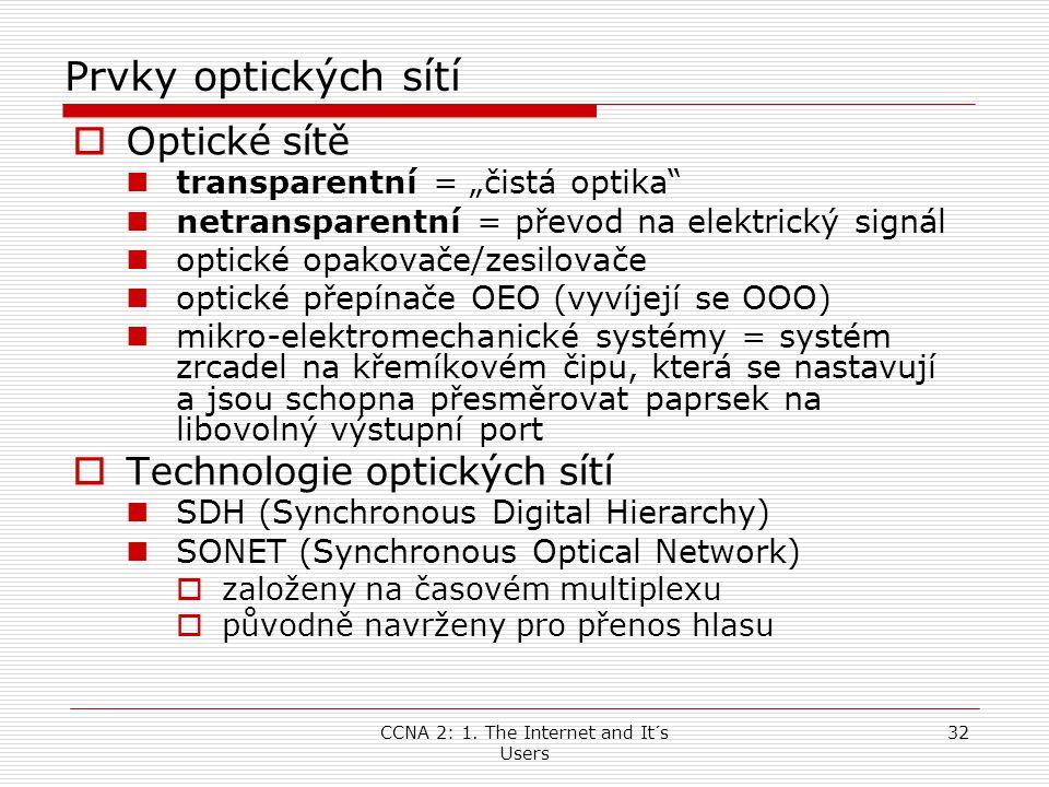 """CCNA 2: 1. The Internet and It´s Users 32 Prvky optických sítí  Optické sítě  transparentní = """"čistá optika""""  netransparentní = převod na elektrick"""