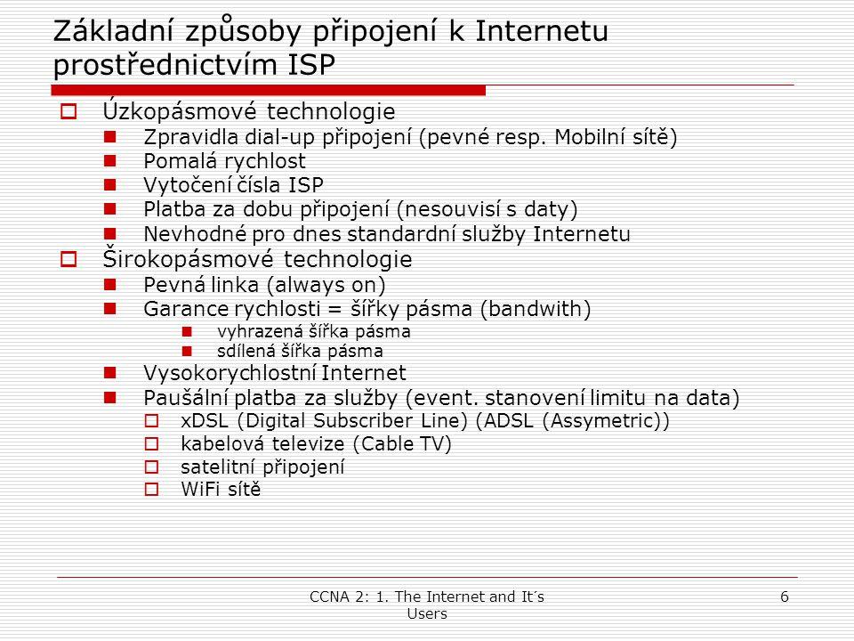 CCNA 2: 1.The Internet and It´s Users 27 Kmitočtové dělění  ADSL modem resp.
