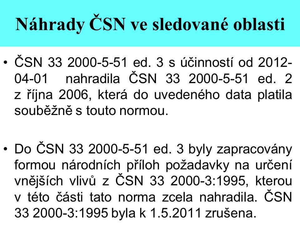 Náhrady ČSN ve sledované oblasti •ČSN 33 2000-5-51 ed. 3 s účinností od 2012- 04-01 nahradila ČSN 33 2000-5-51 ed. 2 z října 2006, která do uvedeného