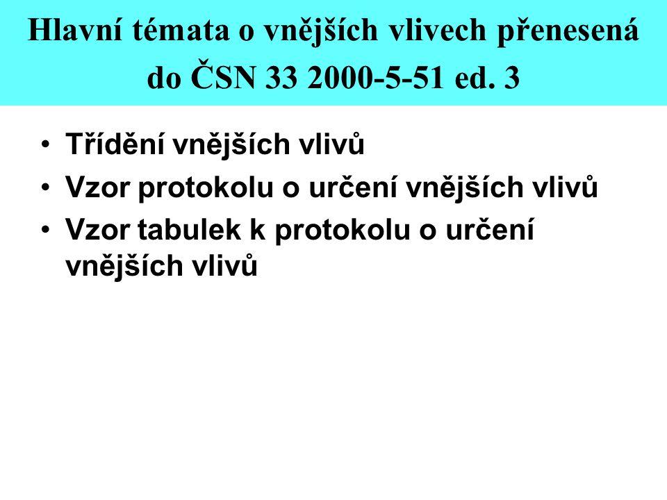 Hlavní témata o vnějších vlivech přenesená do ČSN 33 2000-5-51 ed. 3 •Třídění vnějších vlivů •Vzor protokolu o určení vnějších vlivů •Vzor tabulek k p
