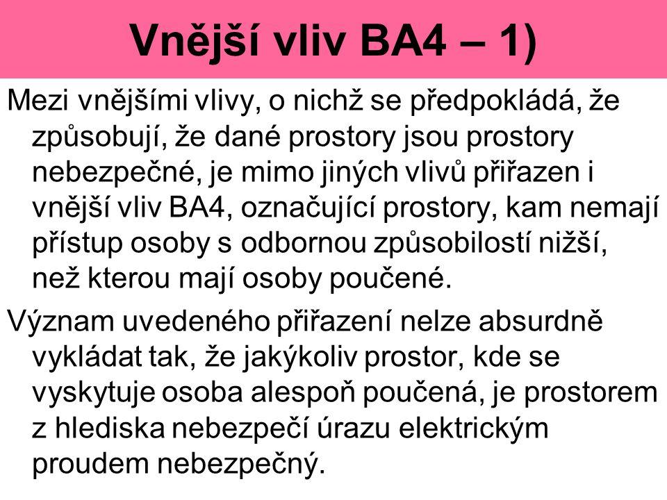 Vnější vliv BA4 – 1) Mezi vnějšími vlivy, o nichž se předpokládá, že způsobují, že dané prostory jsou prostory nebezpečné, je mimo jiných vlivů přiřaz