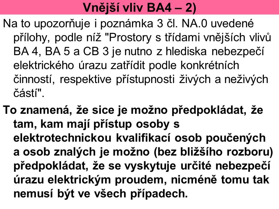 Vnější vliv BA4 – 2) Na to upozorňuje i poznámka 3 čl. NA.0 uvedené přílohy, podle níž
