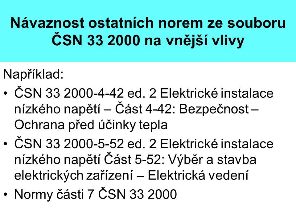 Návaznost ostatních norem ze souboru ČSN 33 2000 na vnější vlivy Například: •ČSN 33 2000-4-42 ed. 2 Elektrické instalace nízkého napětí – Část 4-42: B