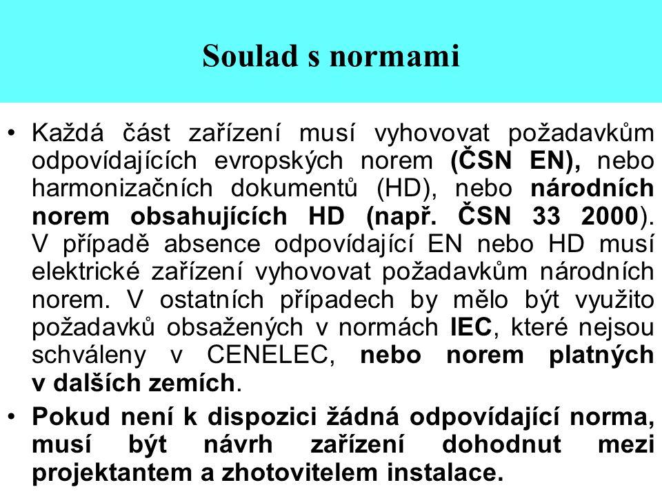 Soulad s normami •Každá část zařízení musí vyhovovat požadavkům odpovídajících evropských norem (ČSN EN), nebo harmonizačních dokumentů (HD), nebo nár