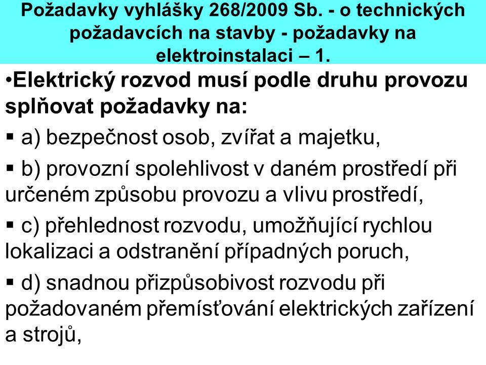 Požadavky vyhlášky 268/2009 Sb. - o technických požadavcích na stavby - požadavky na elektroinstalaci – 1. •Elektrický rozvod musí podle druhu provozu