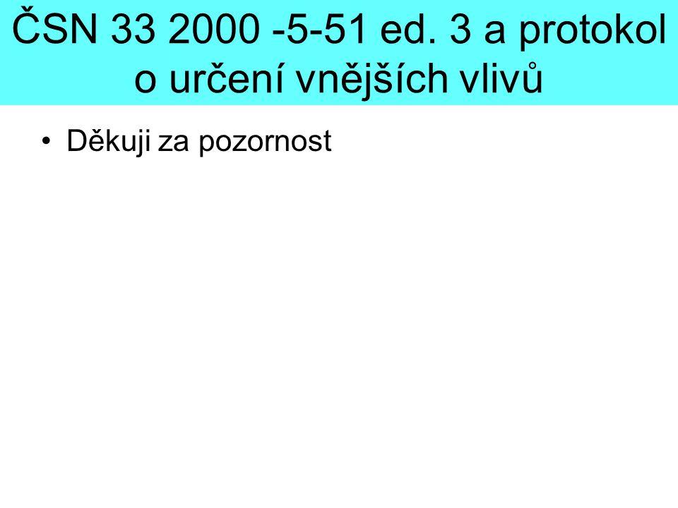 ČSN 33 2000 -5-51 ed. 3 a protokol o určení vnějších vlivů •Děkuji za pozornost